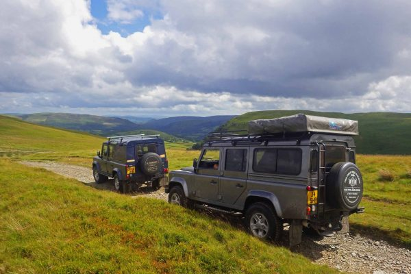 Land Rovers on Golf Links above Rhayader