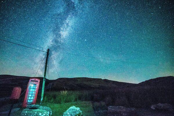 Milky Way at Phone Box Llyn Brianne Reservoir